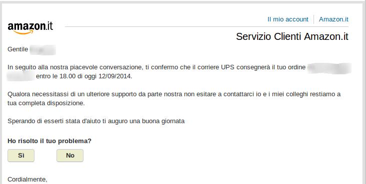Email dal servizio clienti di Amazon