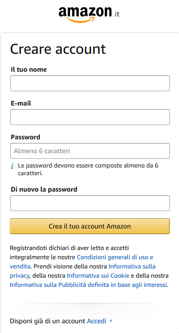 iscrizione account amazon