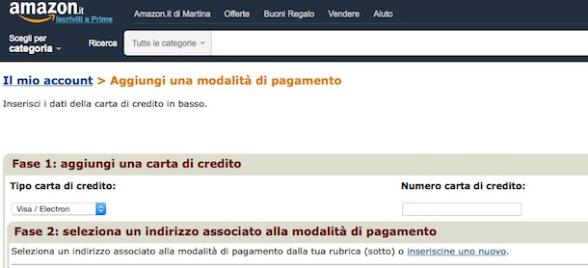 profilo pagamento amazon